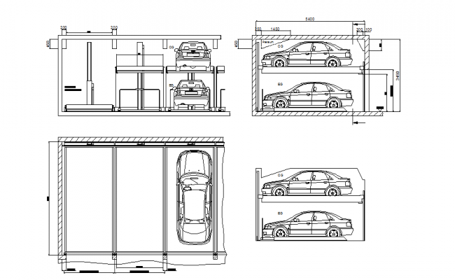 Front and side elevation of car parking