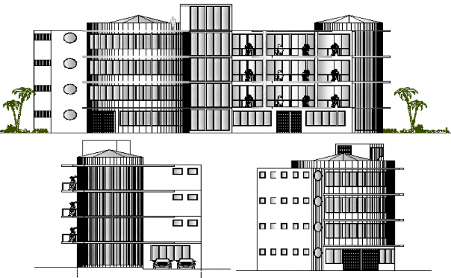 Front and side elevation view details of shopping center dwg file