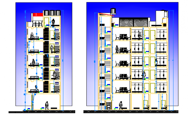 Front and side section details of multi flooring housing building dwg file