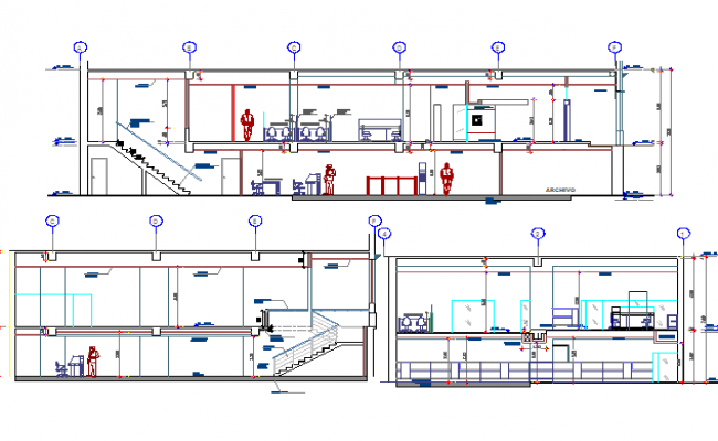 Front and side sectional details of bank building dwg file