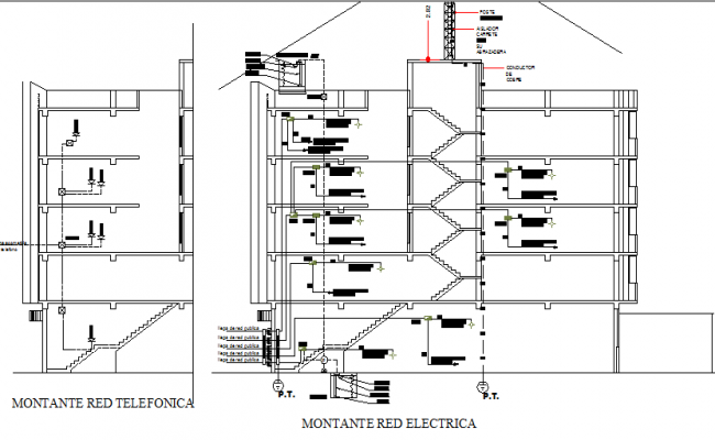 Front and side sectional details with electric installation of corporate building dwg file