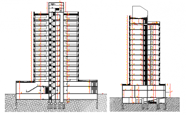 Front and side sectional view of multi-flooring commercial building dwg file