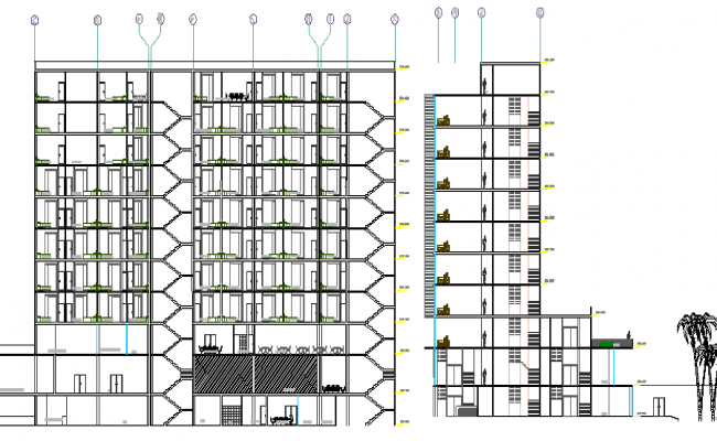 Front and side sectional view of multi-flooring hotel dwg file