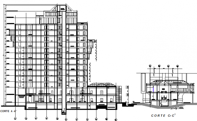 Front and side sectional view of office building details dwg file