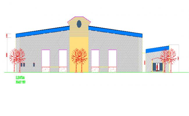 Front building elevation details