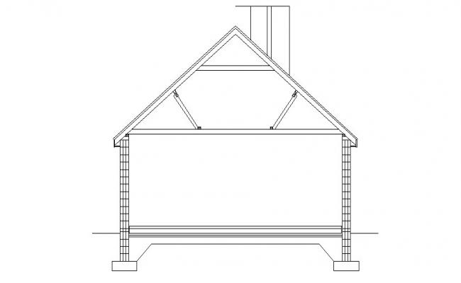 Front constructive section details of small house dwg file
