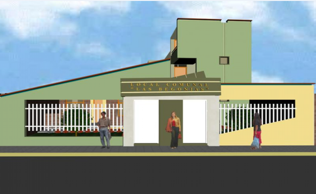 Front elevation 3 D plan view detail dwg file