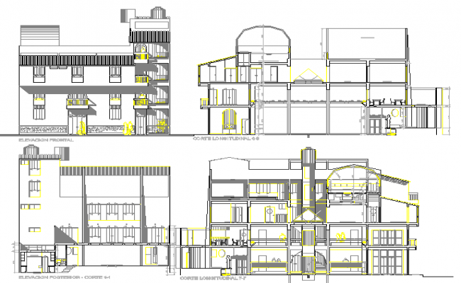 Front elevation & all sided sectional details,  administration building dwg file