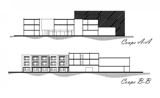 Front elevation and back elevation plan detail dwg file