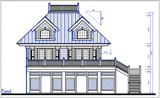 Elevation Plan Ne Demek : Front elevation and back view of bungalow dwg file