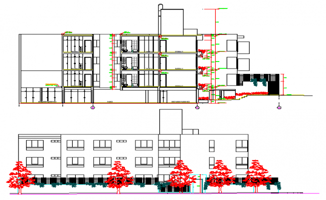 Front Elevation Of Residential Building In Autocad : Front elevation sectional view of residential