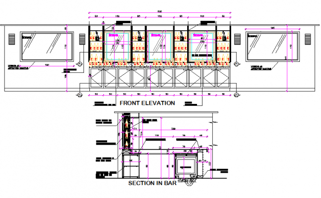 Front elevation and section beach bar detail dwg file