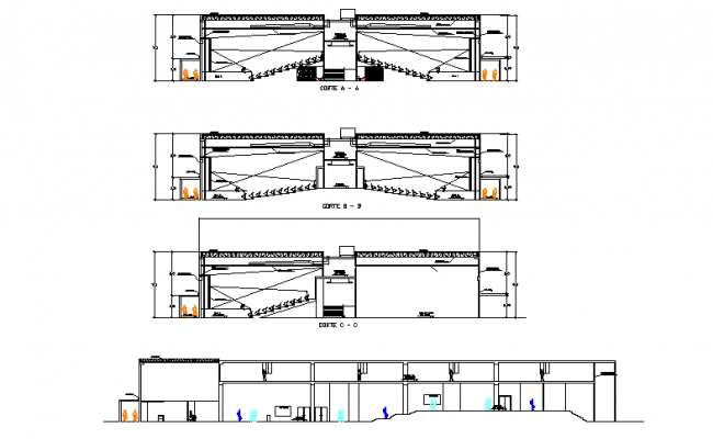 Front elevation and section detail dwg file