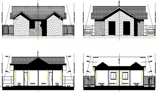 Front elevation and section plan of One family housing project dwg file
