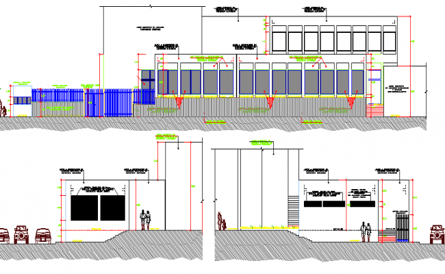 Front elevation and sectional details of primax office building dwg file