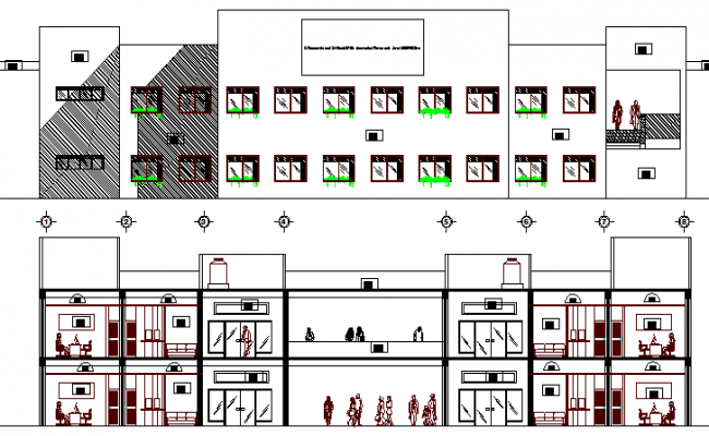 Front elevation & sectional view, government office building dwg file