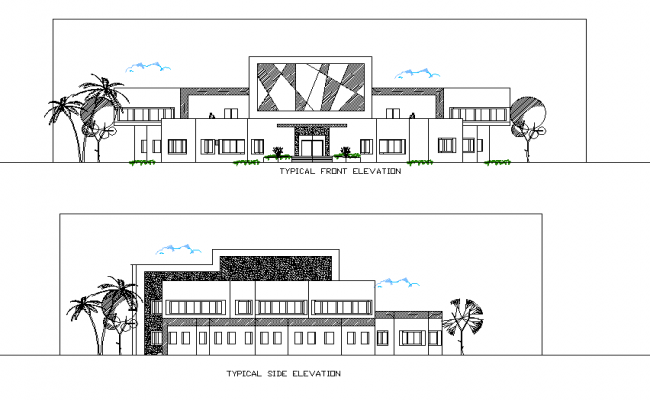 Front elevation and side elevation detail dwg file