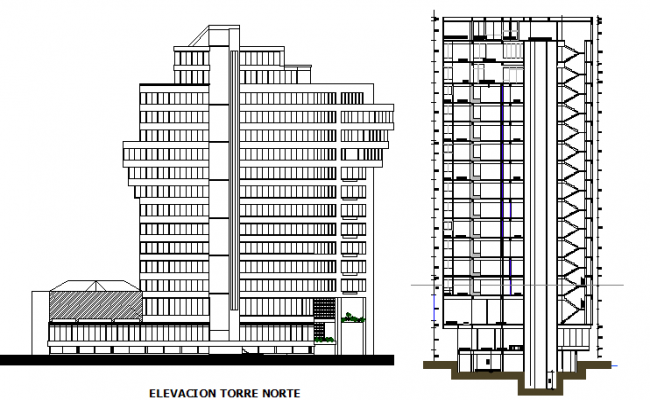 Office Building Front Elevation : Front elevation and side sectional view details of office