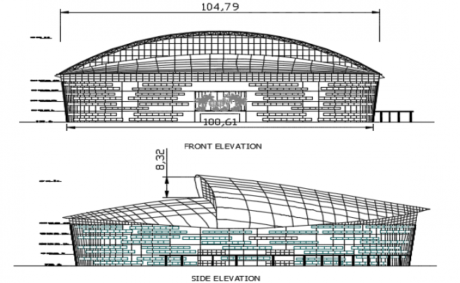 Front elevation and site elevation detail dwg file