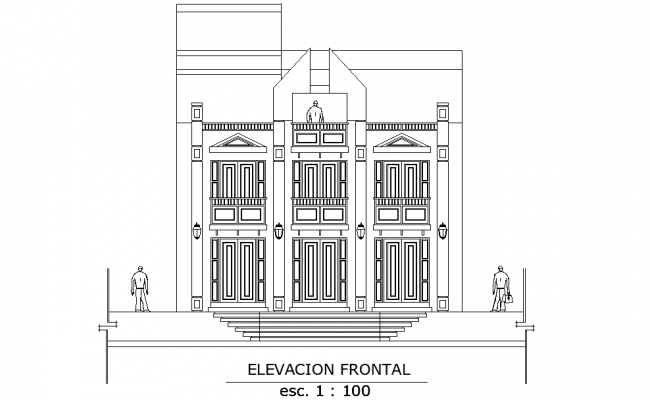 Front elevation building detail dwg file