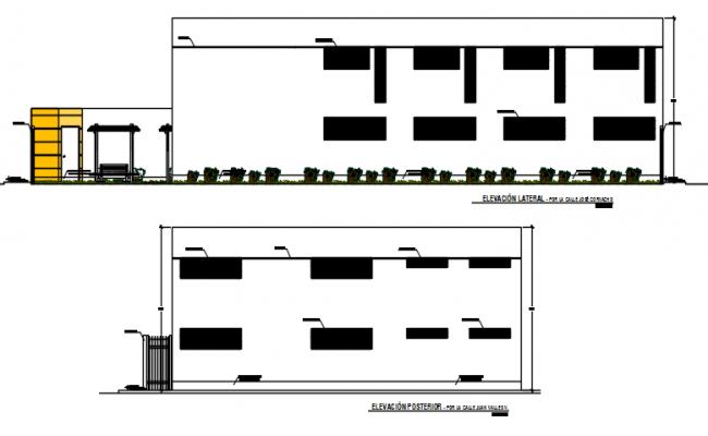 Front elevation detail and back elevation detail dwg file