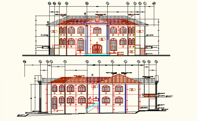 Front elevation detail and back elevation working plan detail dwg file