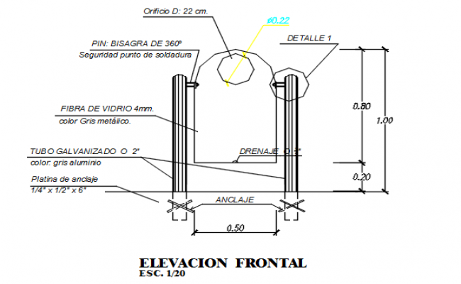 Front elevation detail dwg file