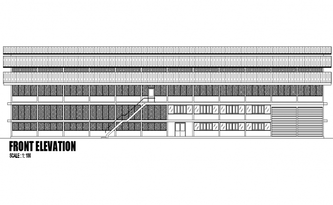 Front elevation factory plan detail dwg file
