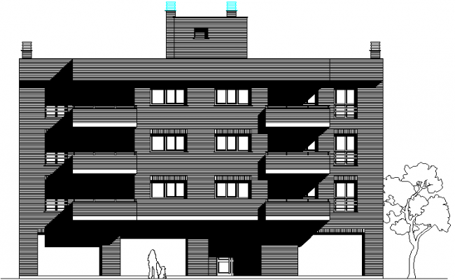 Front elevation house detail dwg file