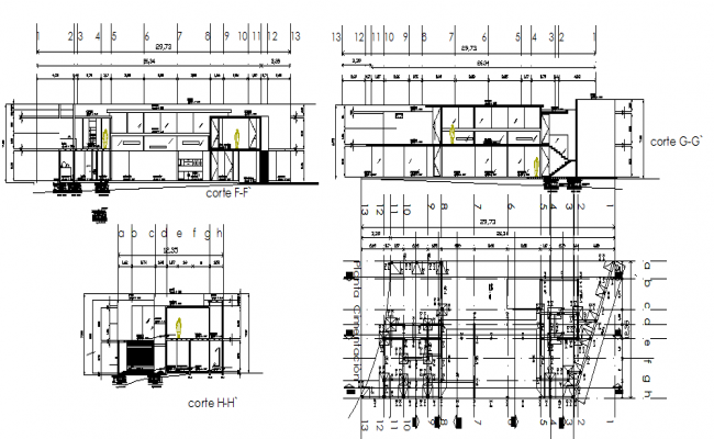 Front elevation of a building  dwg file