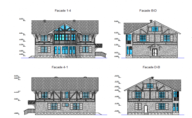 Front elevation of a villa  dwg file