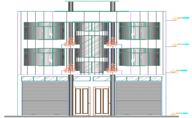 Front elevation of administration building dwg file