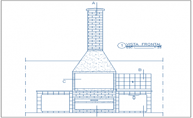 Front Elevation Autocad File : Front elevation of barbecue fire grill place dwg file