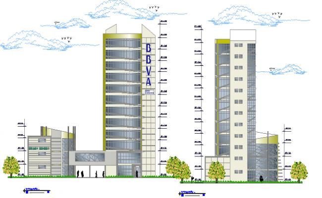 Front elevation of finance center building dwg file