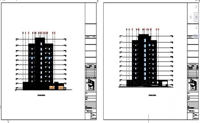 Front elevation of high rise building