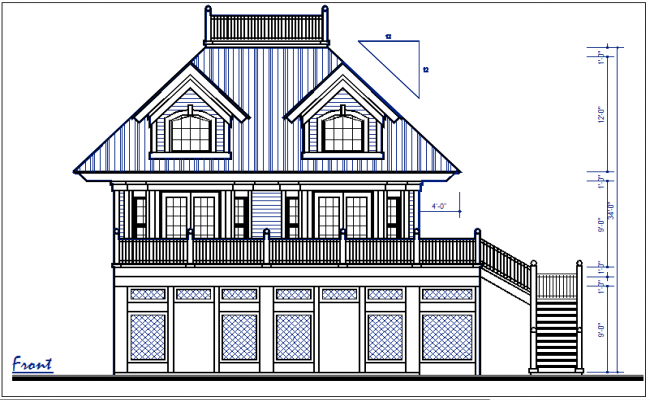 Front elevation plan dimension details dwg files