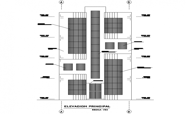 Front elevation residential house layout file