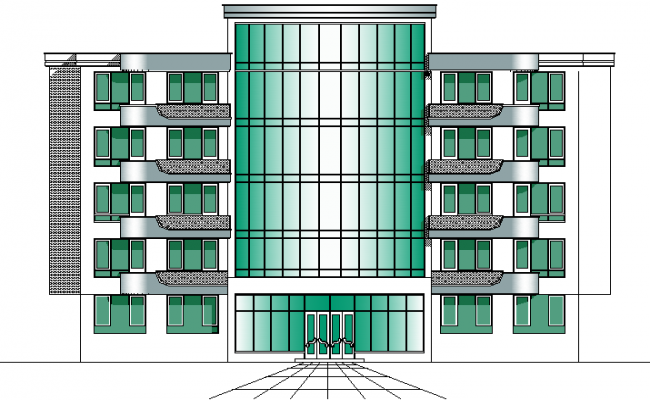 Front elevation school detail dwg file