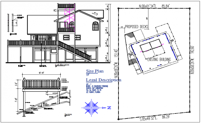 Front elevation view and existing structure site map plan detail dwg file