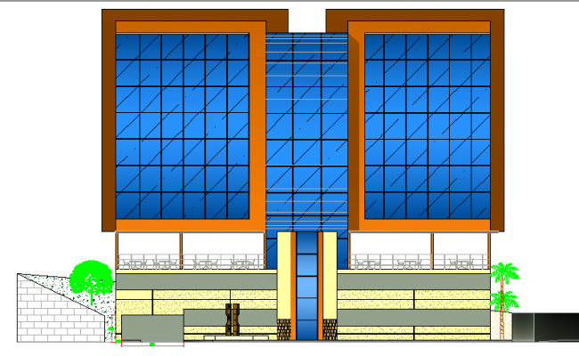 Front elevation view details of multi-story office building dwg file
