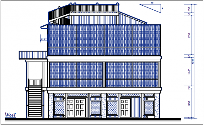Front elevation view of bungalow dwg file
