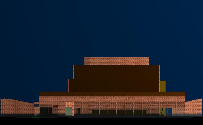Front elevation view of congress center office building dwg file