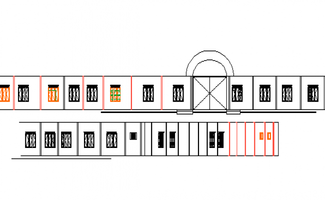 Front elevation view of corporate building-one level dwg file