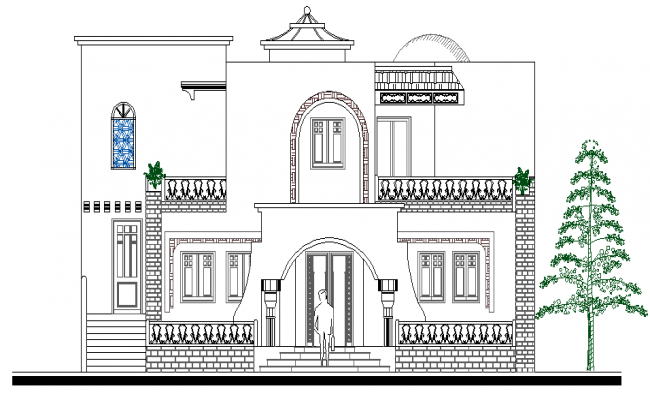 front elevation view of modern design bungalow dwg file