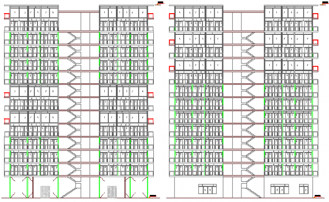 Front elevation view of multi-family housing building dwg file