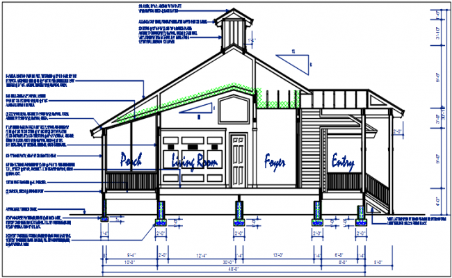 Front elevation with design details dwg files