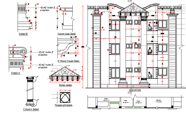 Front elevation with roof, column and beam details of residential building dwg file
