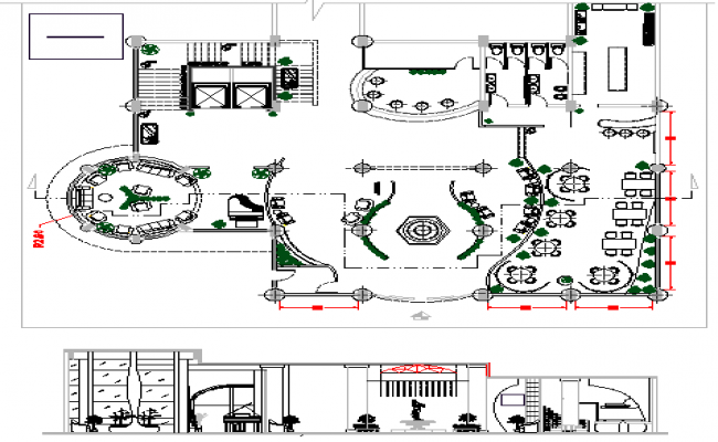 Front section and structural layout plan details of hotel dwg file