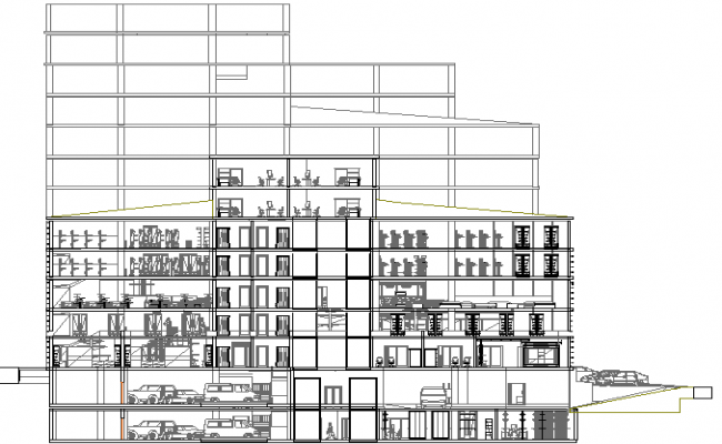 Front sectional view details of multi-level shopping mall dwg file