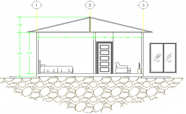 Front sectional view of one family house dwg file